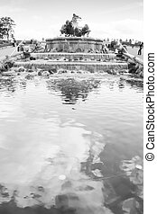 Fountain of Gefion Copenaghen. Black and White with sky...