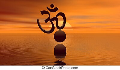 Aum with two balls on one slept by yellow and orange sun