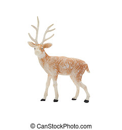 Deer toy - Isolated brown deer toy standing on white...