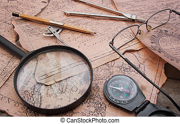 Old ancient history map table.