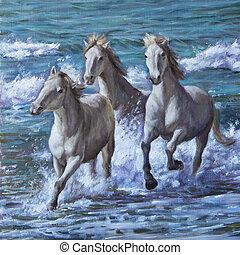 caballos, aceite, Pintura, mar