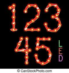 digits - vector set of led illuminated digits illustration...