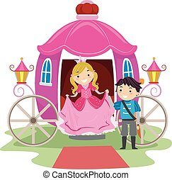 Stickman Kids Prince and Princess - Illustration of Stickman...