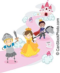 Stickman Kids Princess and Knights - Illustration of...
