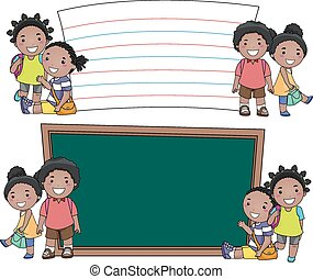 Kids African Education Boards - Stickman Illustration of...