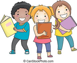Kids Holding Books - Illustration of Smiling Kids Carrying...