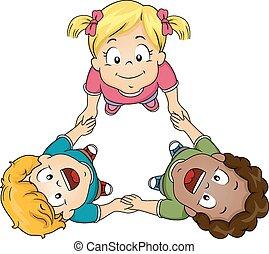 Kids Holding Hands Circle - Illustration of Kids Huddling...