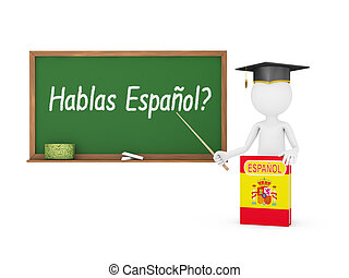 chalk board - Man, Spanish book with a flag and a chalk...
