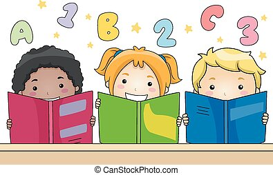 Kids Reading Books - Illustration of Kids Learning to Read...