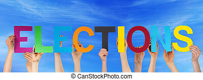 Many People Hands Holding Colorful Straight Word Elections Blue