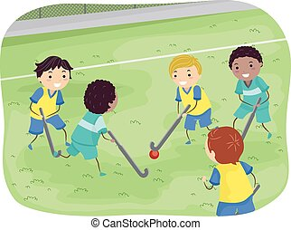 Stickman Boys Field Hockey - Stickman Illustration of Boys...