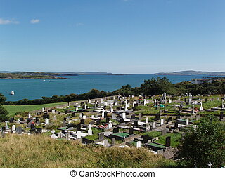 Graves with Ocean - Graveyard with ocean background.