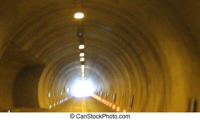movement in the tunnel - inside the tunnel under heavy load