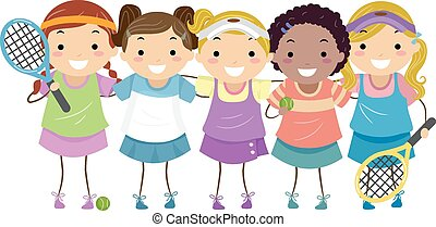 Stickman Girls Tennis - Stickman Illustration of Girls in...