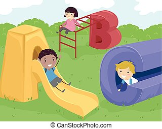 Stickman Kids Playground - Stickman Illustration of Kids...