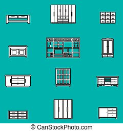 Cabinets and shelves vector set