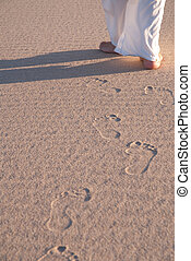 Walking on Sand Dune - Woman walking on a Sand Dune