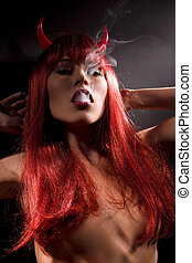 smoking devil - dark picture of smoking naked devil woman