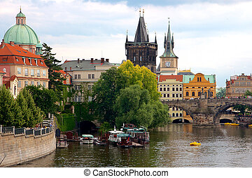 Historic Prague Riverside - Historic buildings on the Vltava...