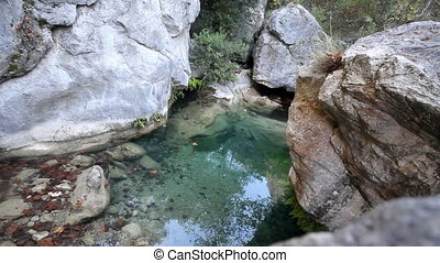 stream in mountains during low water periods - stream is...