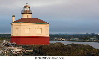 Coquille River Lighthouse Bandon Bay Oregon Pacific Ocean...
