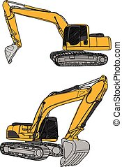 excavator vector - illustration of excavator, hand drawn...