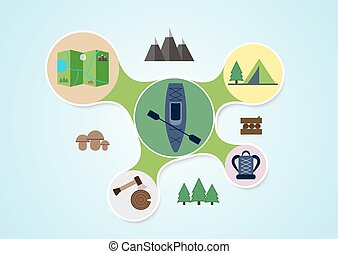 Camping and kayak graphic in round style, outdoor elements on multicolor rounds background, travel info graphic