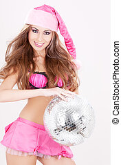 santa helper in pink lingerie with disco ball - sexy santa...