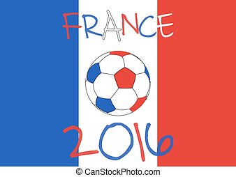 France 2016 Football poster France flag background,...