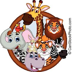 animal cartoon posing on frame - vector illustration of...