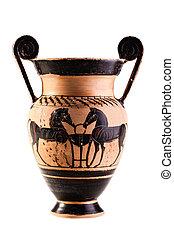 Ancient apulian vase over white
