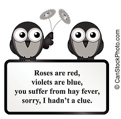 Hay Fever Poem - Monochrome comical Hay Fever poem isolated...