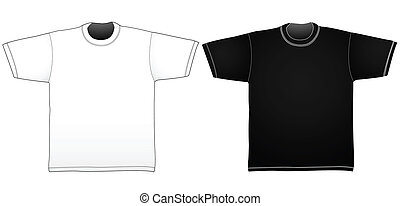 T-Shirt templates - Black and white t-shirt templates Linear...