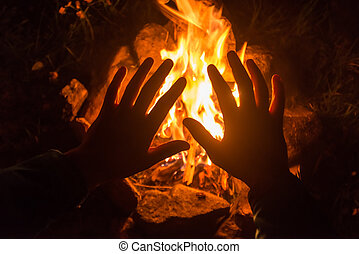 fire - the camping fire on night