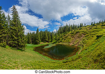 mountain - lake in mountain on summer time