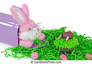 Easter bunny with cupcake