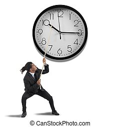 Change the time - Business man tries to change the time