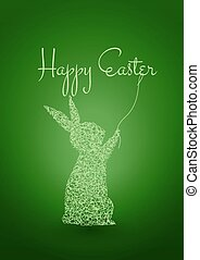 Happy Easter Green Background with Rabbit