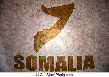 somalia vintage map - somalia map on a vintage somalia flag...