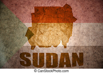 sudan vintage map - sudan map on a vintage sudanese flag...