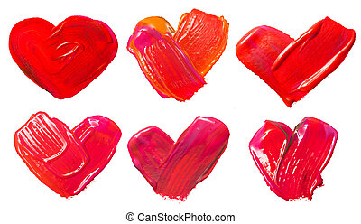 art paints, hearts, love