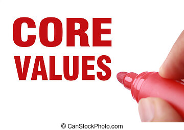 Core Values text is written by red marker on white paper.