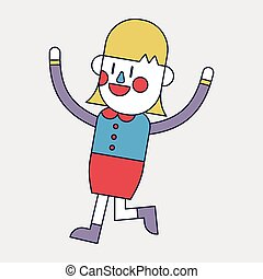 Character illustration design businesswoman joyful cartoon
