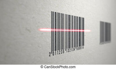 4k - Animation of barcodes on paper texture scanned by a...