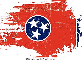 Scratched Tennessee Flag - A flag of Tennessee with a grunge...