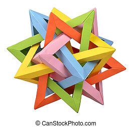 origami, cruzados, tetraedro,