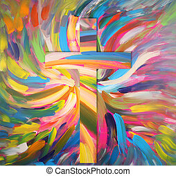 cross - A cross with bright colors and wings