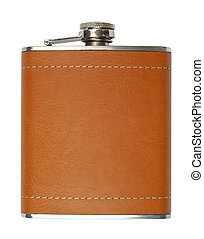 Portable Pleasure - New brown leather flask for alcohol...