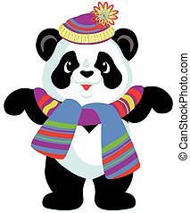 cartoon panda bear wearing colorful knitted hat and scarf,...