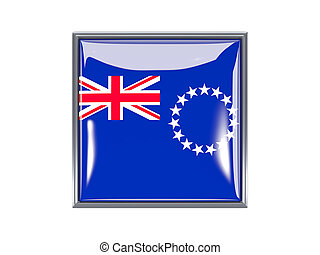 Square icon with flag of cook islands - Metal framed square...